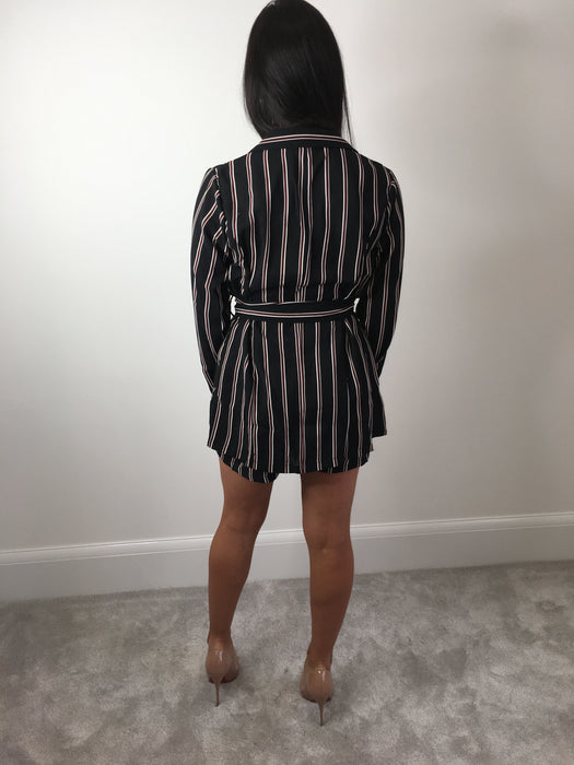 Navy Pinstripe Blazer & Shorts Co-Ord