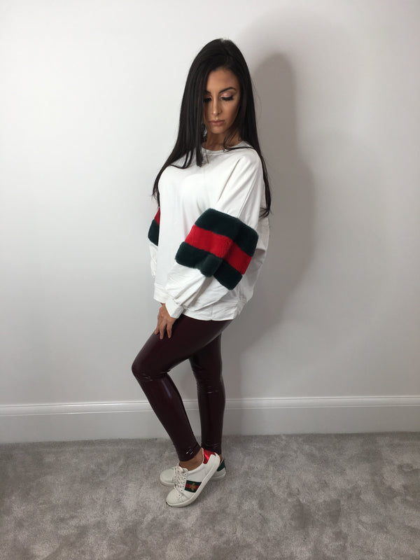 Gucci Inspired Fur Sleeve Jumper