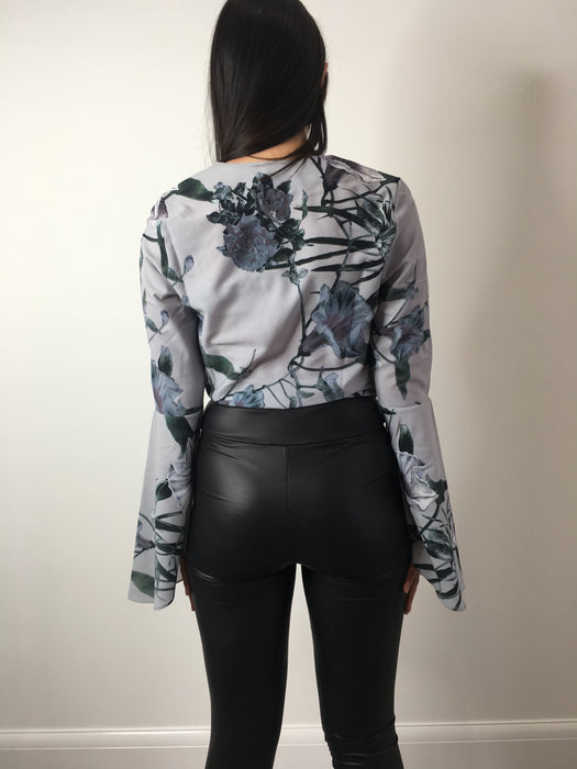 Floral Flared Sleeve Tie Blouse