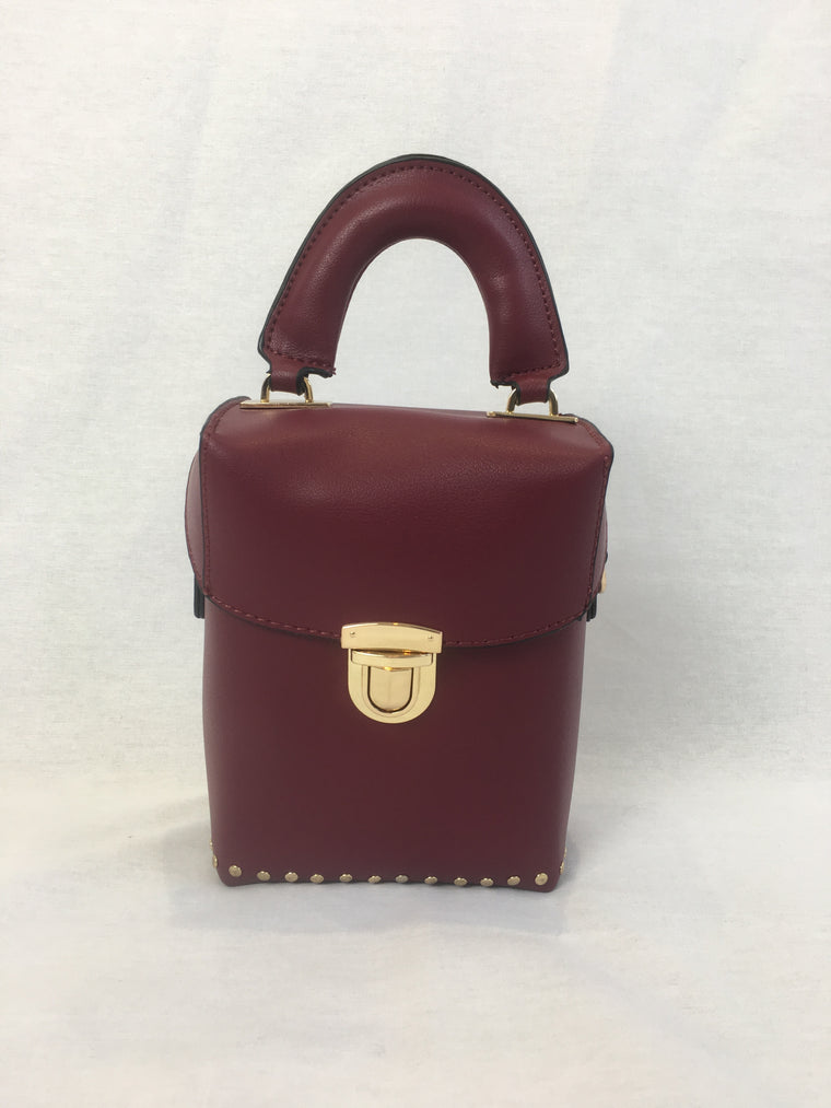 Burgundy One Shoulder Mini Bag