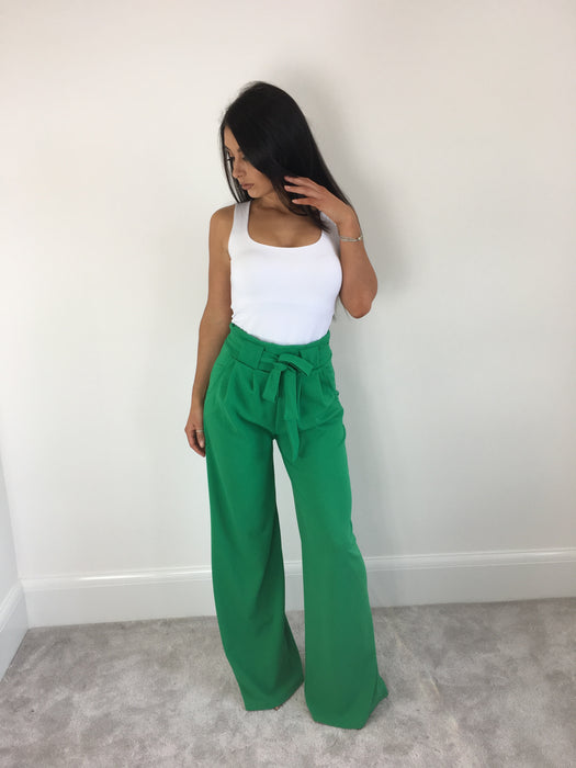 Bright Green Wide Leg Trousers