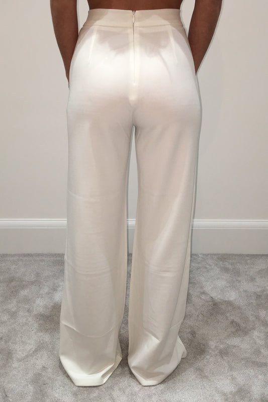 White High Waisted Flared Trousers