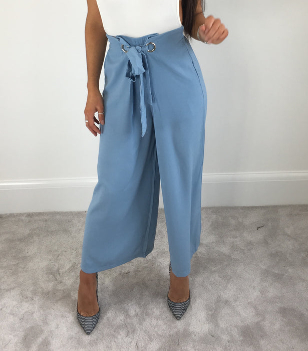 Baby Blue Tie Waist Trousers