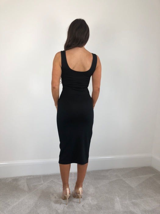 Black Thigh Split Midi Dress