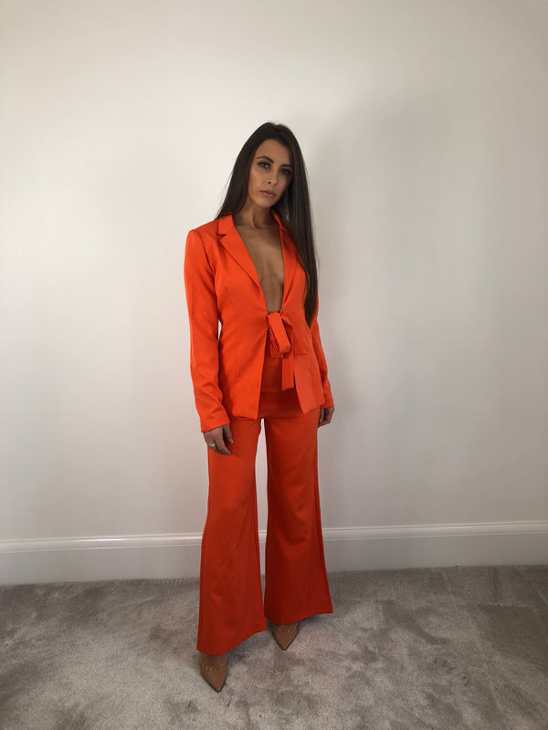 Orange Tie Front Suit