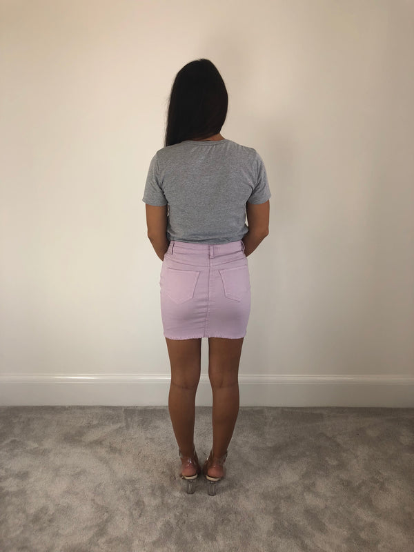 Lilac Ripped Denim Skirt