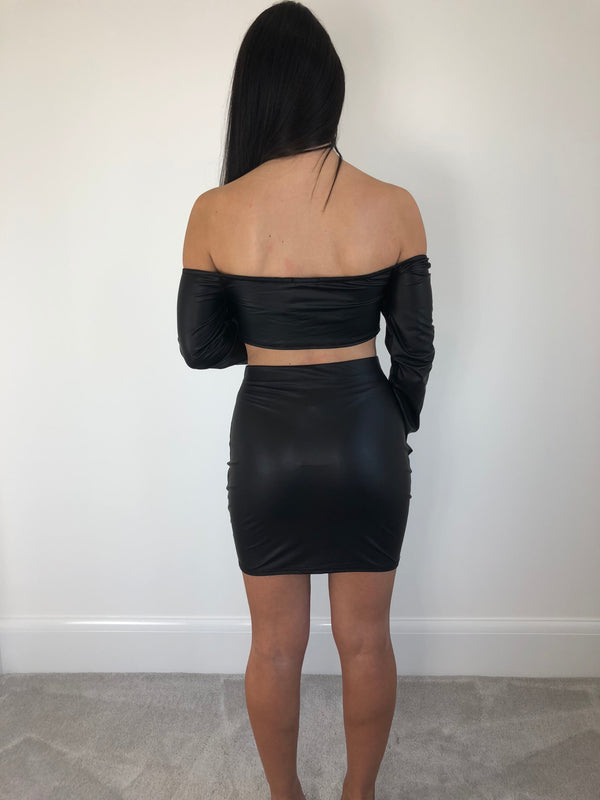 Black Faux Leather Co-Ord