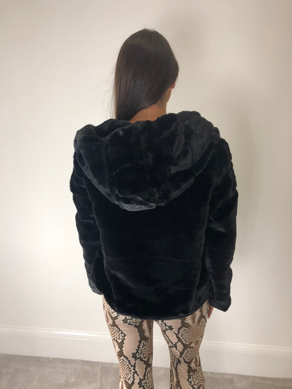 Black Faux Fur Zip Coat