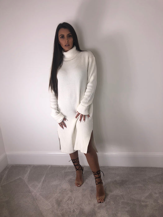 Cream Roll Neck Dress