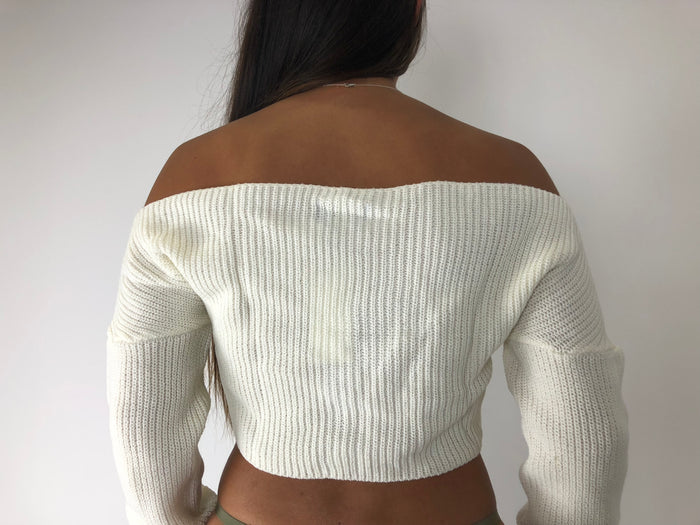 Cream Long Sleeve Crop Jumper
