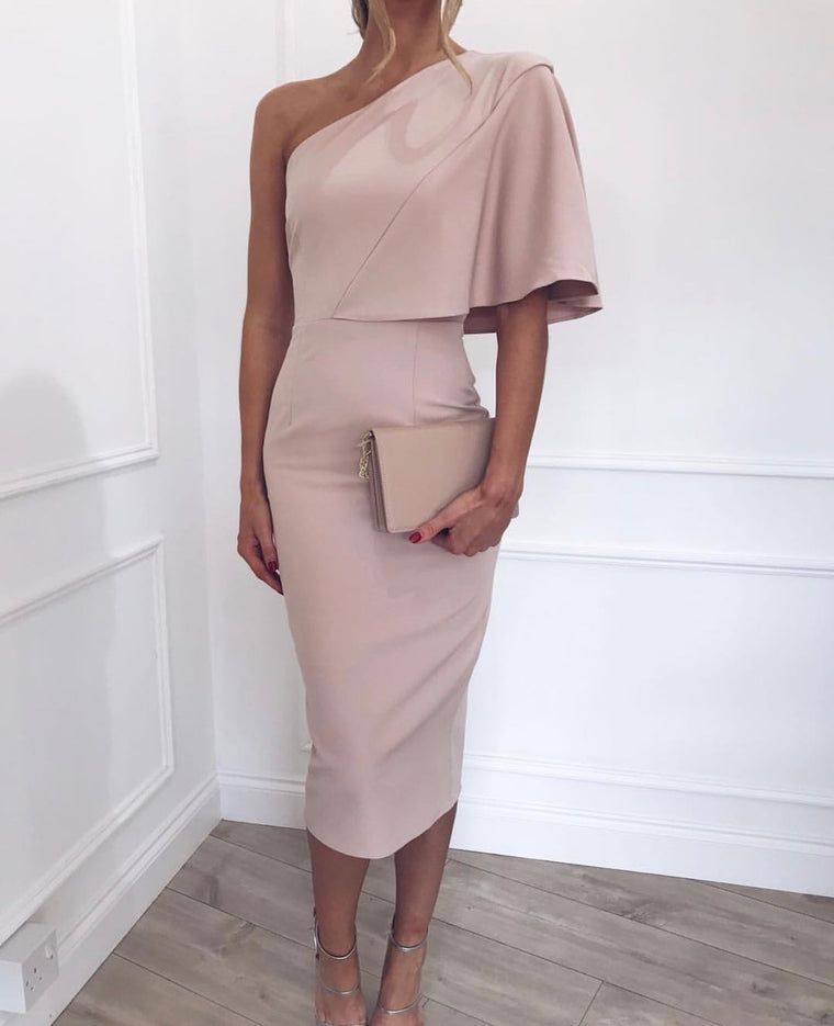 One Shoulder Pink Midi Dress