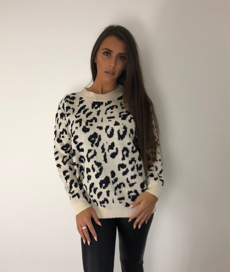 Cream Animal Print Jumper