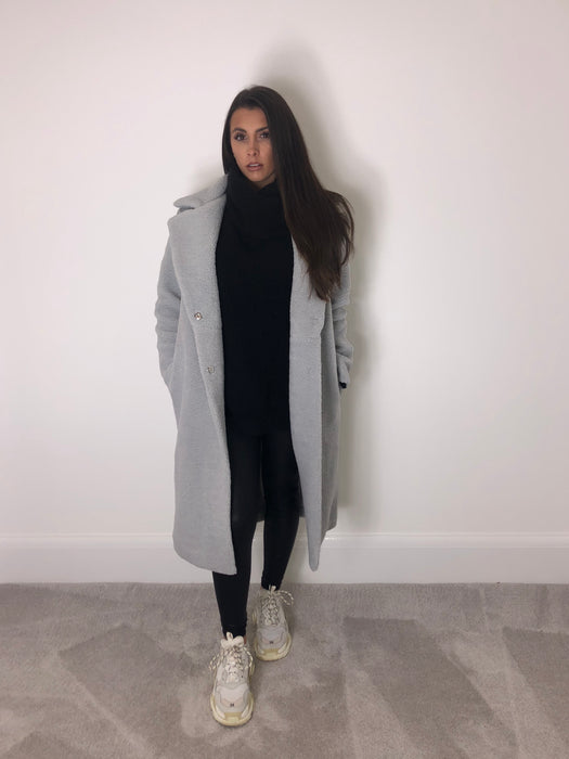 Grey Longline Teddy Coat