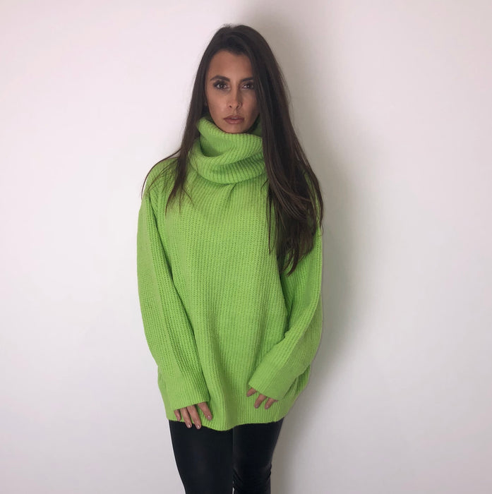 Neon Green Knit Roll Neck Jumper