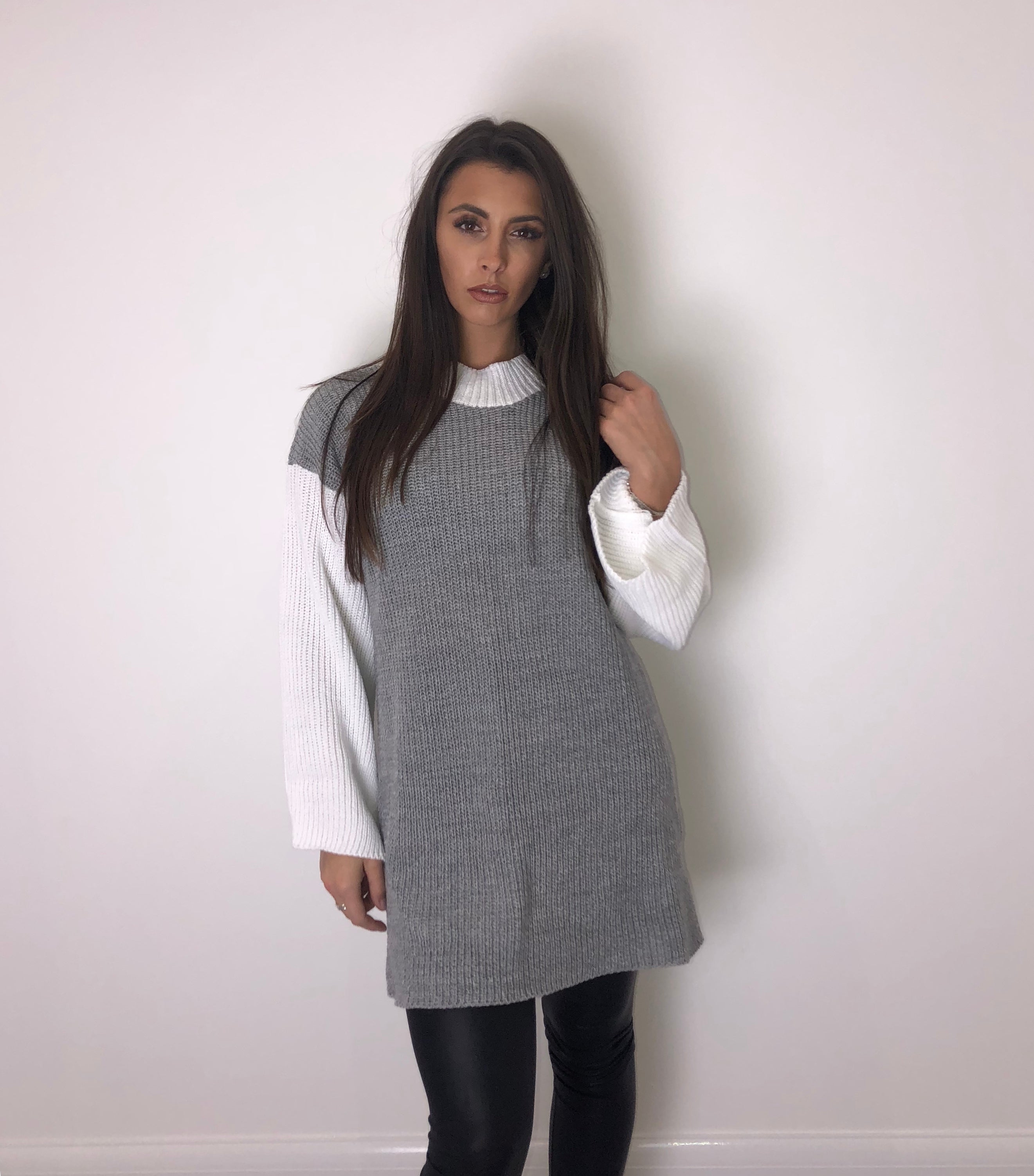 Grey and White Block Jumper Dress