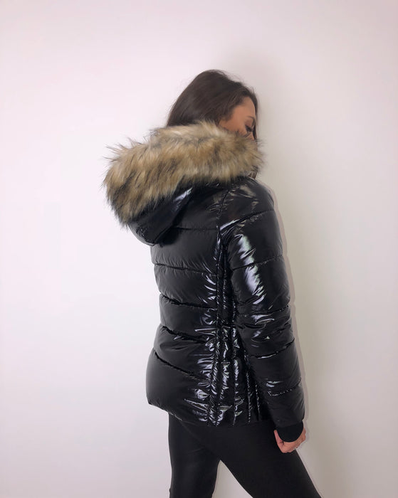 Black High Shine Fur Hood Coat
