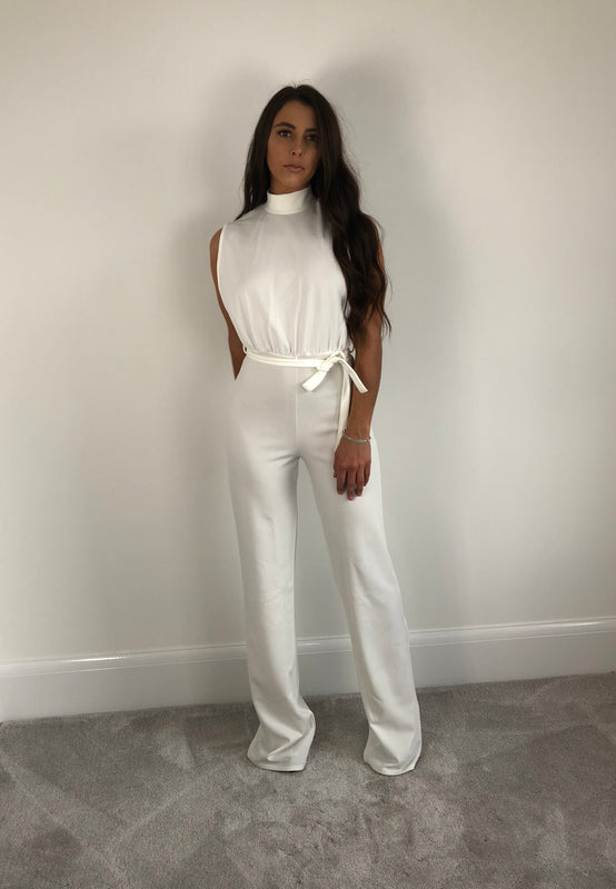 White High Neck Tie Waist Jumpsuit