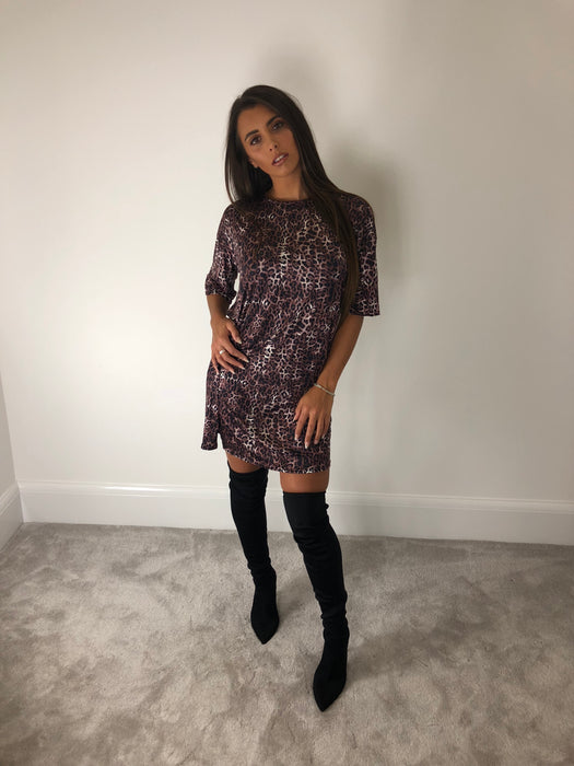 Leopard Print Oversized T-Shirt Dress