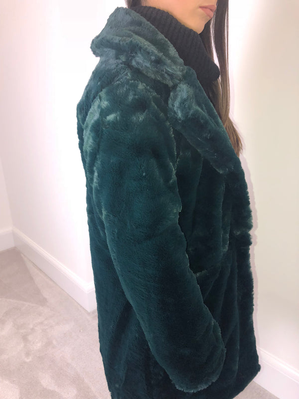 Teal Faux Fur Coat