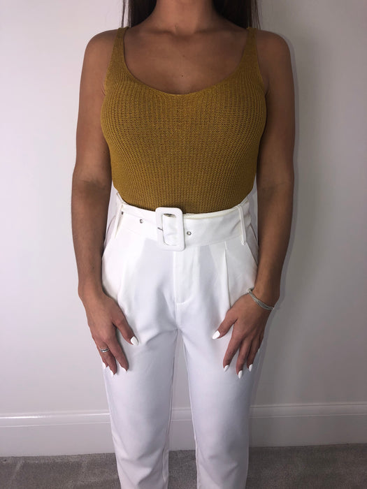White Belted High Waisted Trousers