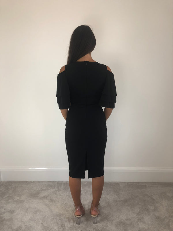 Wrap Front Black Dress