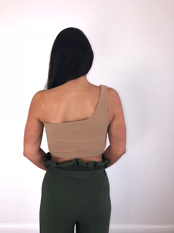 Nude One Shoulder Crop Top