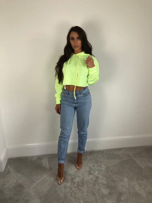Neon Lime Cropped Hoody