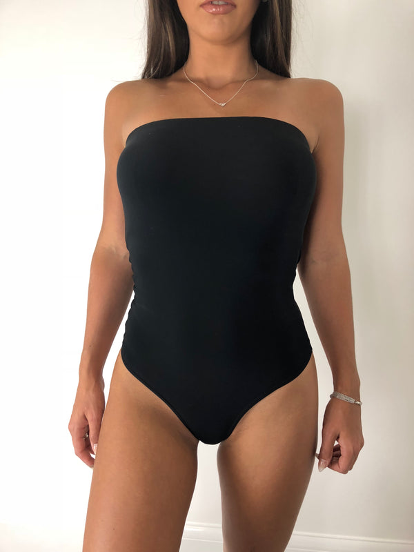 Basic Black Bandeau Bodysuit