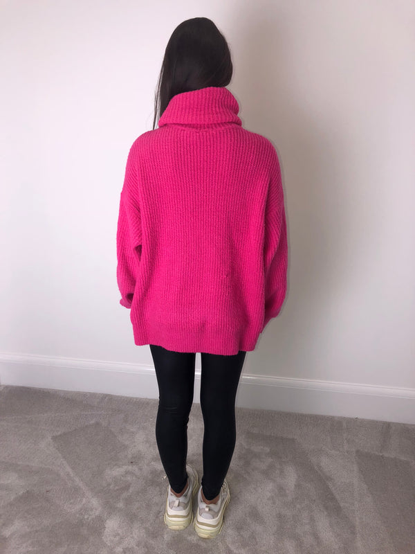 Pink Knit Roll Neck Jumper
