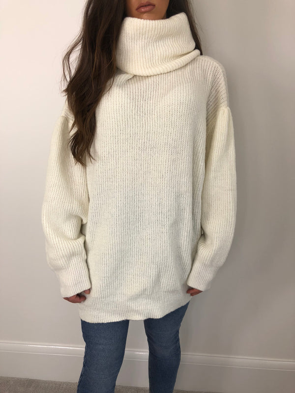 Cream Knit Roll Neck Jumper