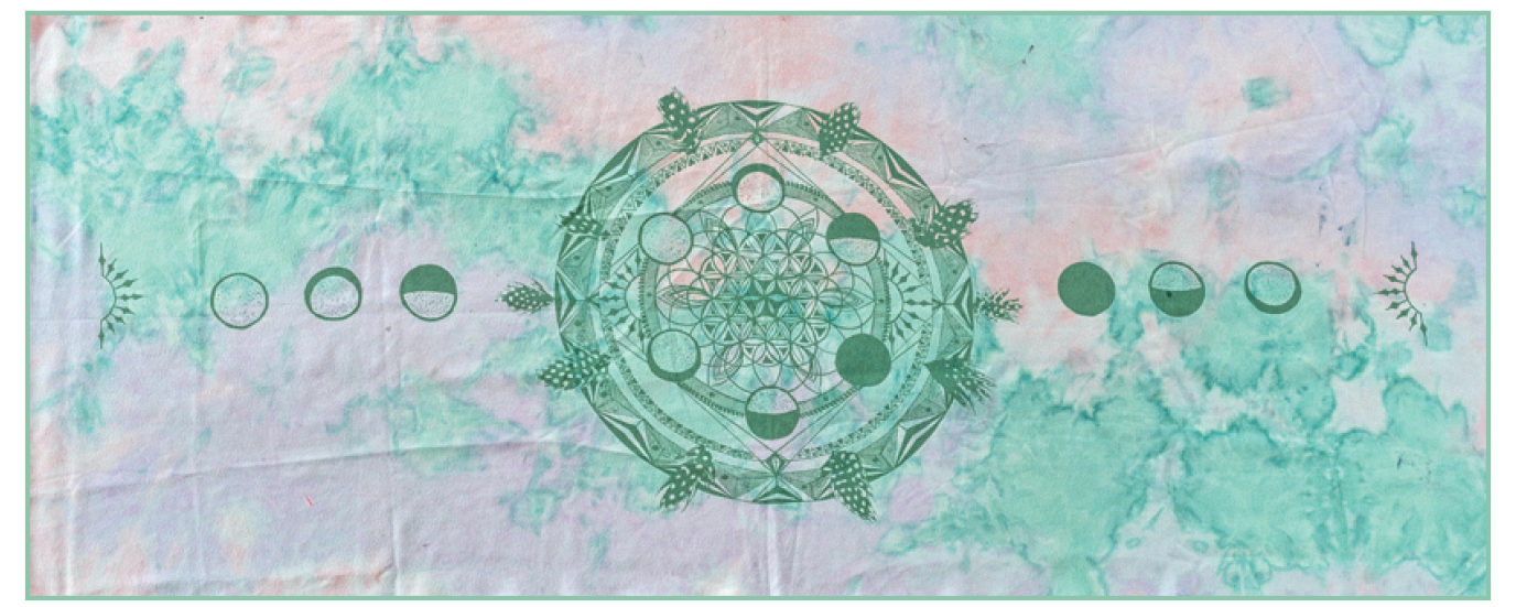 Moon Cycle Mandala Art Yoga/ Travel / Beach Towel | Batikarma Limited Edition Towels 10% for ocean conservation projects