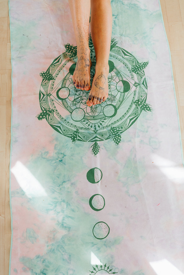 Moon Cycle Mandala Art Yoga/ Travel / Beach Towel | Batikarma Limited Edition Towels from recycled materials