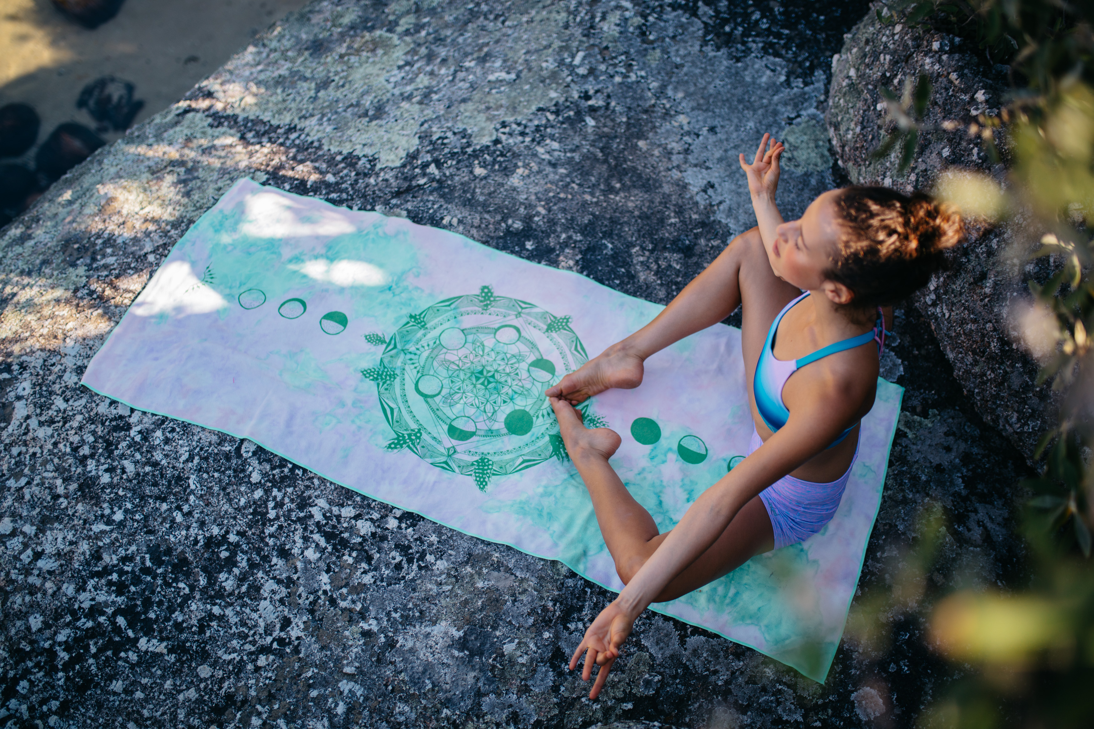 Moon Cycle Mandala Yoga/ Travel / Beach Towel | Batikarma Limited Edition Towels from Recycled Plastic