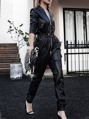 **NEW** Black Knight Faux Leather Jumpsuit