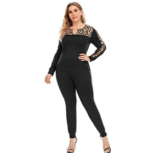 **NEW** Plus Size Women's Two-Piece Leopard Stitching Sportswear Set