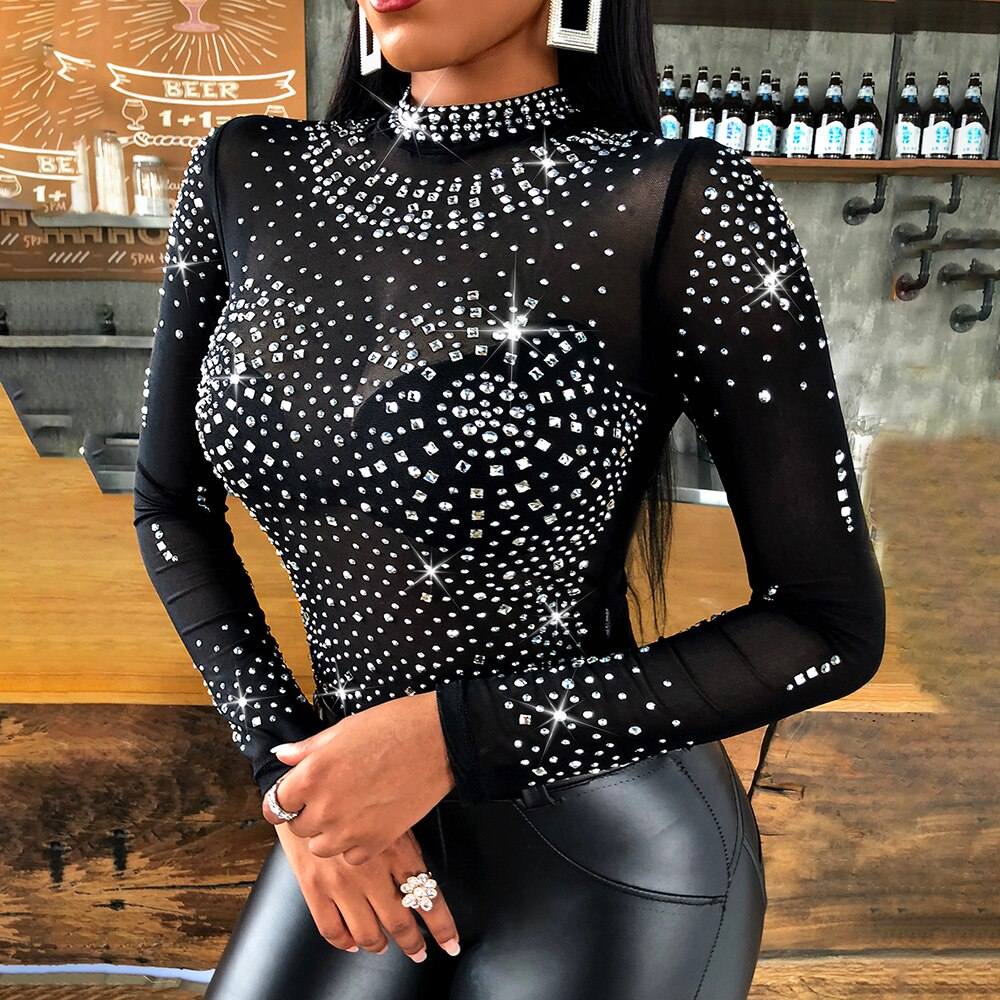 **NEW** Women's Elegant Beaded Long Sleeve Blouse