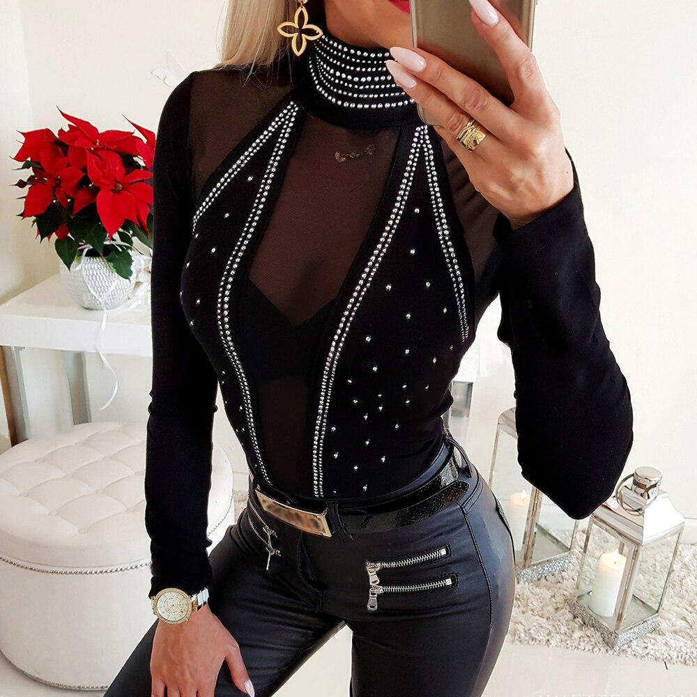 **NEW** Women's Sexy Mesh Rhinestone Blouse