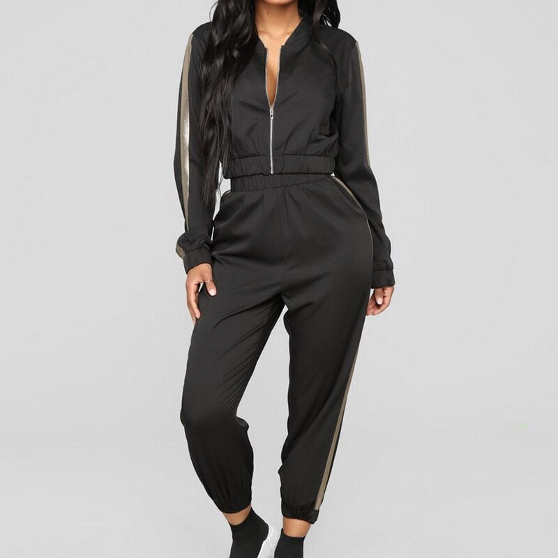 **NEW** Women's Casual Tracksuit Long Sleeve Crop Top