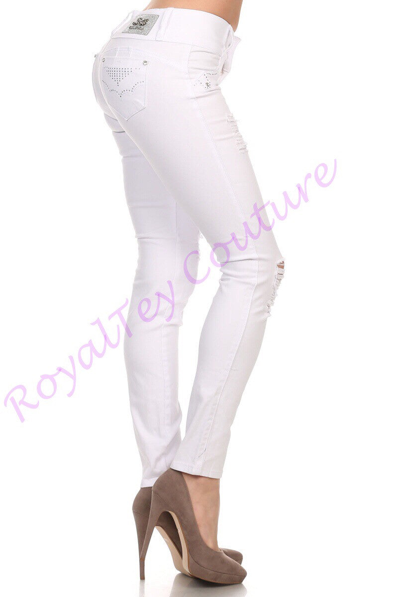 White Ripped Stretch Jeans