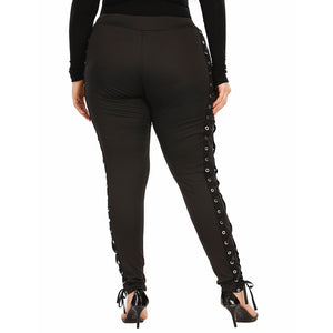 **NEW** Plus Size Women's High Waisted Lace Up Leggings