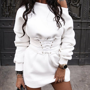 **NEW** Women's Solid O-neck Long Sleeve Fleece Thick Dress with Waistband Belt