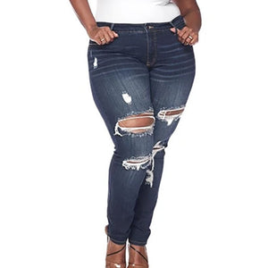 **NEW** Plus Size Women's High Waist Stretch Cutout Jeans