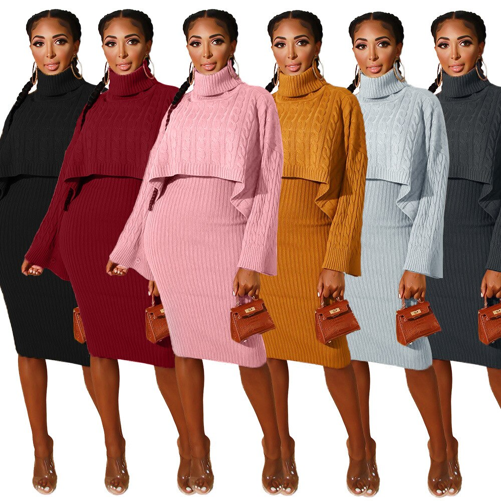 **NEW** Women's Two-Piece Knitted Suit Dress Turtleneck Cape Pullover