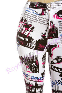 White Magazine Printed Pants