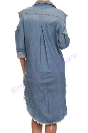 Long Sleeve Button up Denim Top with Distressed Open Shoulder