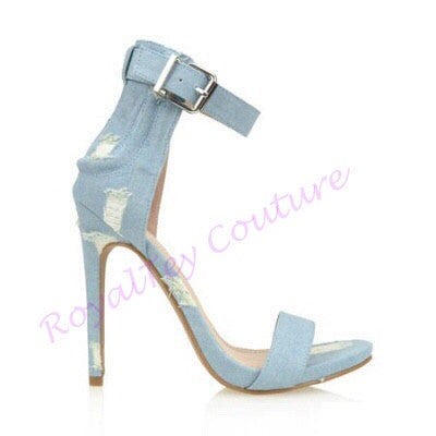 Light Blue Distressed Heels