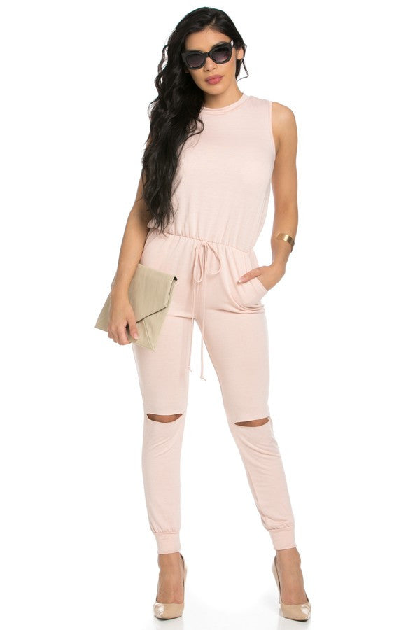 Pink Sleevess Ripped Romper, Jumpsuit, Playsuit