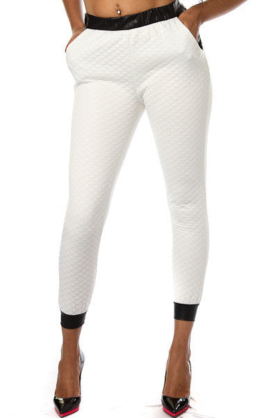 Snow White Quilted Joggers