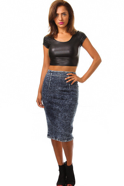 Sexy Denim Mineral Washed Zipper Back Midi Skirt