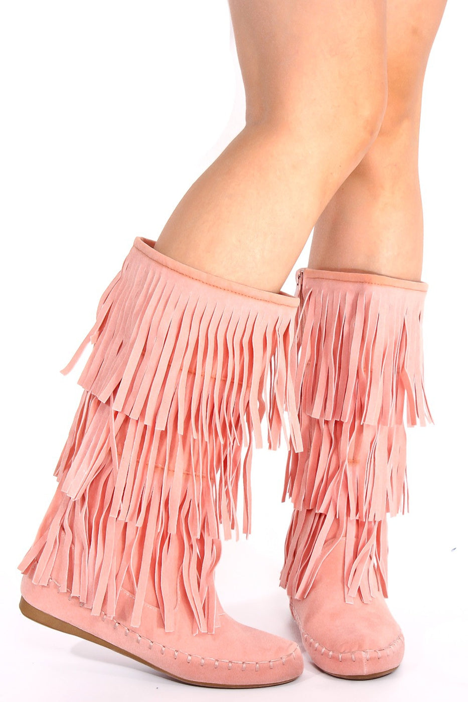 Dusty Pink Moccasin Style Fringe Boot